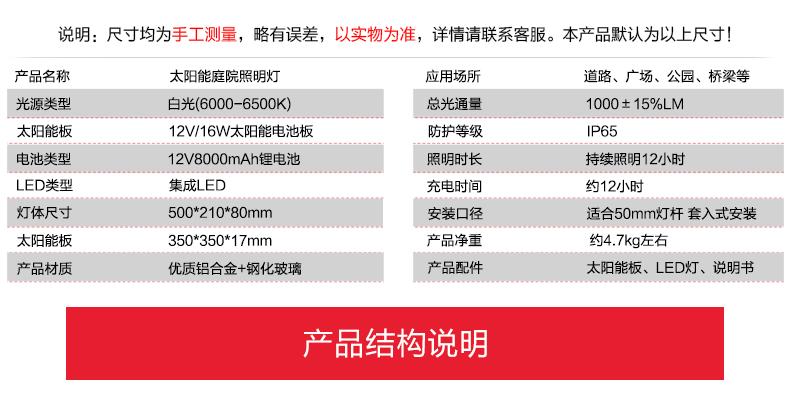 太陽能挑壁燈產品參數