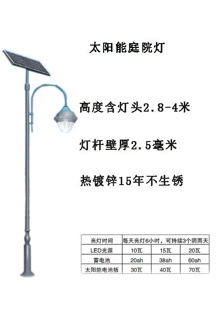 太陽能庭院燈示意圖