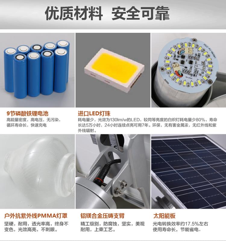 太陽能庭院燈材料