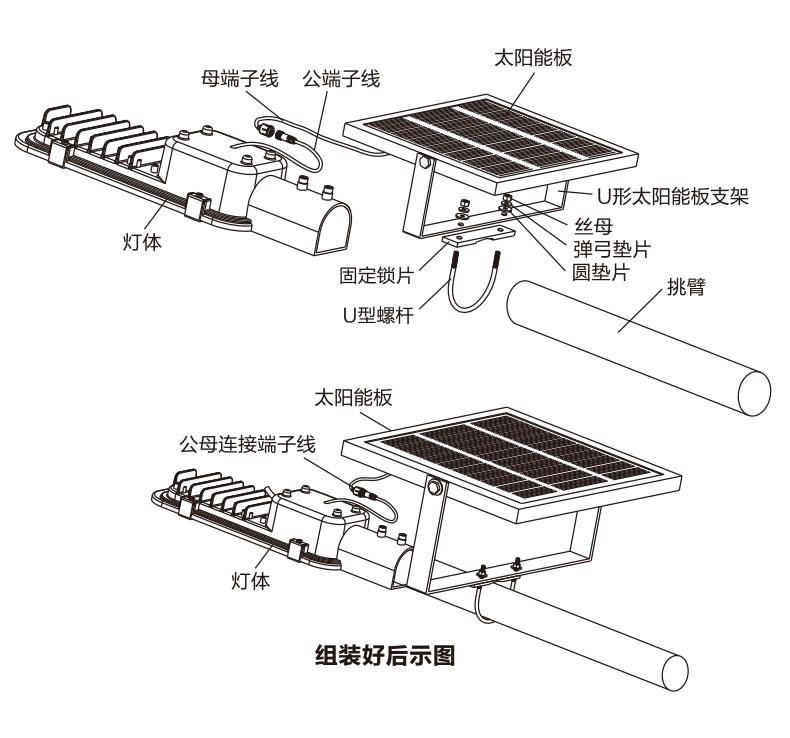 太陽能挑壁燈結構示意圖